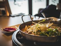 Korean Spicy Hot Stew with vegetables royalty free stock photo