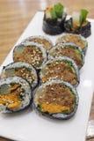 Korean spicy pork rice rolls. (Gimbap Royalty Free Stock Photos