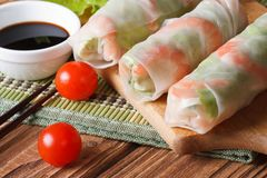 Korean spring rolls with shrimp and sauce close up horizontal Stock Images