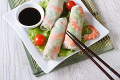 Korean spring rolls with shrimp and sauce on a plate horizontal Stock Images