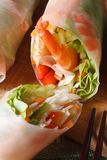 Korean spring rolls with shrimp and vegetables macro. vertical. Stock Images