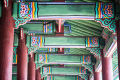 Korean style castle roof. In city Stock Images