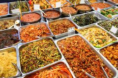 Food Korea style at Seoul market. Korean style food has many delicious flavors, Koreans prefer to eat at home royalty free stock photo