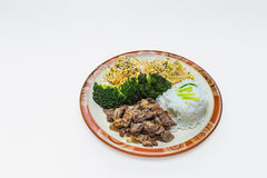 Korean style food. With rice, meat, sprouts,broccoli royalty free stock image