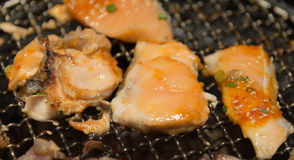 Korean style grilled fish and meat on hot stove  closeup Stock Photo