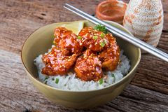 Korean style spicy crispy chicken and rice. stock photo