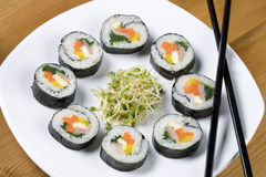 Korean style sushi and clover sprouts. Royalty Free Stock Photo