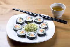 Korean style sushi and tea. Stock Images