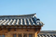 Korean style wall and roof in village south korea Stock Photos