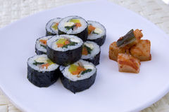 Korean sushi and kimchi. Royalty Free Stock Photo