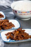 Korean sweet and spicy beef strips Royalty Free Stock Image