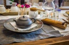Korean tea ceremony table. South korean tea ceremony table royalty free stock photo