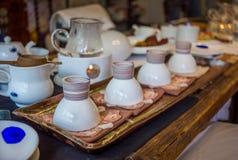 Korean tea ceremony table Stock Photo