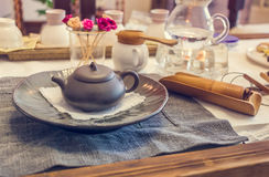 Korean tea ceremony table, vintage toning Stock Photo