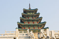 Korean  Temple. Korean style, the architectural details of the majestic building Royalty Free Stock Image