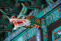 Korean temple detail, dragon wood sculpture Royalty Free Stock Images