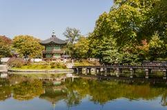 Korean temple, Emperors island in Gyeongbokgung palace. Seoul. South Korea Royalty Free Stock Photos