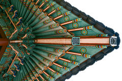 Korean Temple Roof Detail with Pigeons Near Jungang Market. Jeju, South Korea.  royalty free stock photography