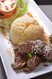 Korean tenderloin beef with Rice. Platter stock photos