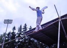 Korean tightrope walker at festival grounds Stock Images