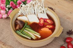 Korean tofu soup with rice is delicious. Stock Photo