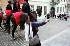 Korean tourists enyoing Kravata's day parade,Zagreb,3 Stock Images