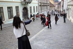 Korean tourists enyoing Kravata's day,Zagreb,2 Royalty Free Stock Image