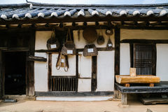 Korean traditional architecture and agricultural implements Royalty Free Stock Image