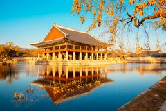 Korean traditional architecture Gyeongbokgung Palace at autumn in Korea Royalty Free Stock Photos