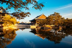 Korean traditional architecture Gyeongbokgung Palace at autumn in Korea Stock Photo