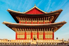 Korean traditional architecture Gyeongbokgung Palace in Korea Stock Photo