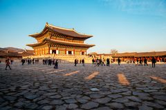 Korean traditional architecture Gyeongbokgung Palace Stock Photo
