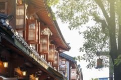 Korean traditional architecture restored as restaurant and cafe in Jeonju Hanok Village, South Korea royalty free stock photo