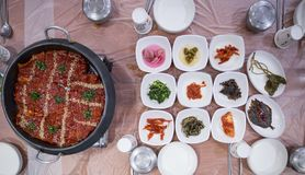 A top view of a korean cuisine dinner. stock photography