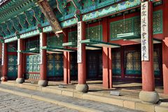 Korean traditional door open system Stock Photos