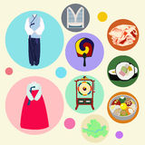 Korean traditional elements vector set Royalty Free Stock Image