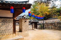 Namsangol Hanok Village, Korean traditional house at autumn in Seoul