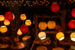 Korean traditional lamps with Chinese and Korea words Royalty Free Stock Photos