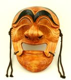 Korean traditional male wooden mask. Isolated Stock Images