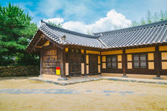Korean traditional old house at summer day. In Asan Oeam Folk Village, Korea Royalty Free Stock Photography