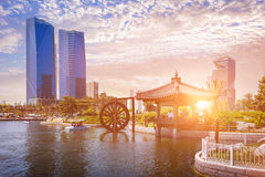 Korean traditional old Pavilion in Sunset. Incheon, South Korea - May 05, 2015: Korean traditional old Pavilion in Sunset with Seoul city at Central park in Royalty Free Stock Photos