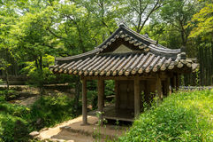 Korean Traditional Pavilion. Korean traditional pavilion in a historical garden. Taken in Sosewon, South Korea stock photo