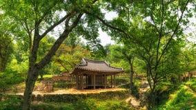 Korean traditional pavilion. In a historical garden. Taken in Sosewon, South Korea royalty free stock photo