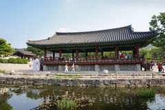 Korean traditional pavilion with tourists Stock Photo