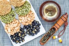 Korean traditional sweet snacks. Healthy energy snacks. Top view, horizontal Royalty Free Stock Photo