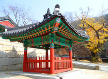 Korean Traditional Vivid Colors Pavilion in the Old Temple Royalty Free Stock Photography