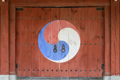 Korean traditional wooden gate Stock Images
