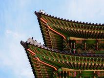 Korean traditional wooden roof. Gyeongbokgung Palace. Seoul, South Korea stock image