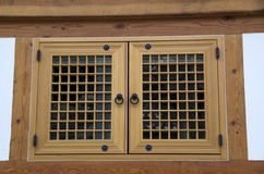 Korean traditional wooden window detail house stock photography