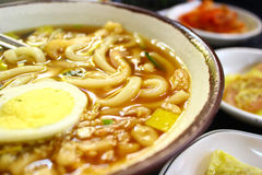 Korean Udong. Soup with egg,kimchi Stock Photo